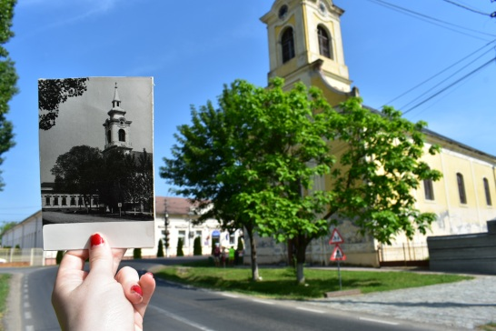 Two different pictures of Oma's church, then and now.