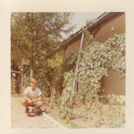 My father, in 1975, feeding a cat in the house's garden.