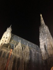 The outside of St. Stephen's Cathedral in Vienna at night